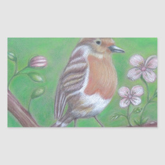 Robin Bird Rectangular Sticker