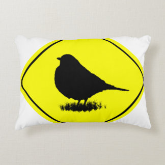 Robin Bird Silhouette Caution Crossing sign Accent Pillow