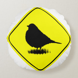 Robin Bird Silhouette Caution Crossing sign Round Pillow