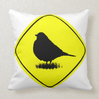Robin Bird Silhouette Caution Crossing sign Throw Pillows