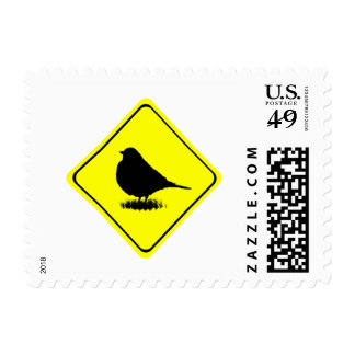 Robin Bird Silhouette Caution Crossing sign Postage Stamp