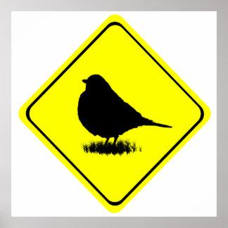 Robin Bird Silhouette Caution Crossing sign Print