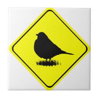 Robin Bird Silhouette Caution Crossing sign Tile