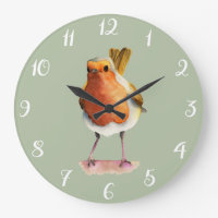 Robin Bird Watercolor Painting Large Clock