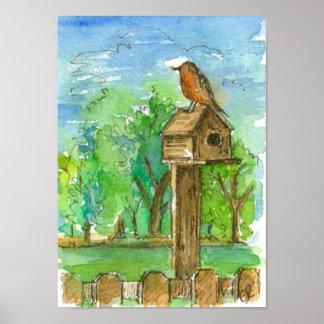 Robin Birdhouse Country Watercolor Landcape Poster