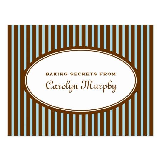 Robin blue chocolate brown custom recipe card