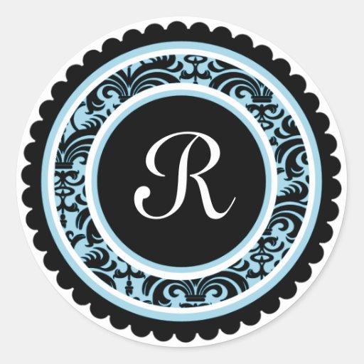 Robin Blue Damask Monogram Initial Sticker