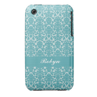 Robin blue damask pattern custom name personal Case-Mate iPhone 3 cases