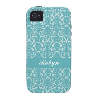 Robin blue damask pattern custom name personal vibe iPhone 4 cover