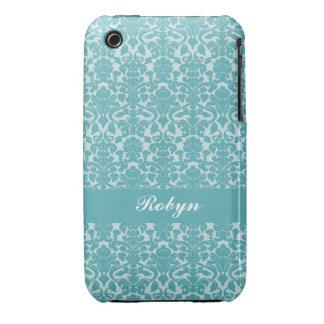 Robin blue damask pattern custom name personal iPhone 3 Case-Mate case