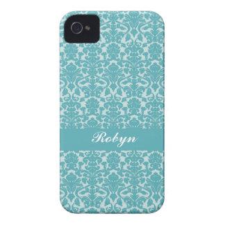 Robin blue damask pattern custom name personal iPhone 4 case