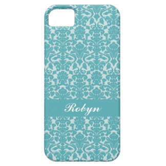 Robin blue damask pattern custom name personal iPhone SE/5/5s case