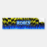 Robin blue fire and flames bumper sticker design. car bumper sticker