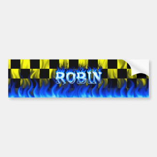 Robin blue fire and flames bumper sticker design.