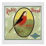Robin Brand Fruit Crate Label Poster