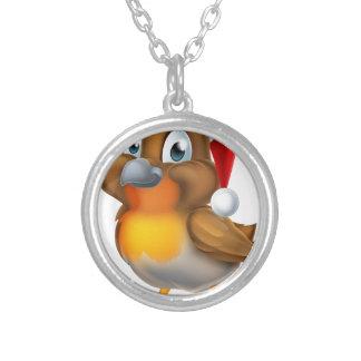 Robin Christmas Bird Cartoon Silver Plated Necklace