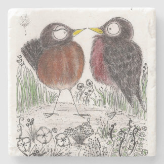 Robin Couple Stone Coaster