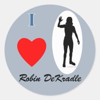 Robin DeKradle name pun Round Stickers