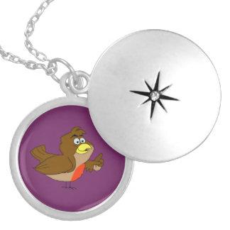 Robin design matching jewelry set round locket necklace