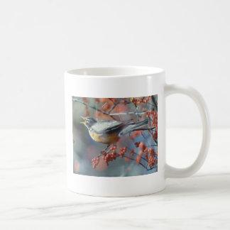 Robin eating berry classic white coffee mug