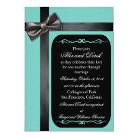 Robin Egg Blue and Black Gay Wedding Invitations