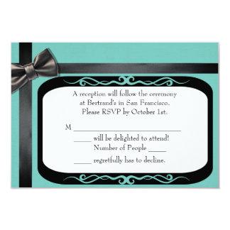 Robin Egg Blue and Black Gay Wedding RSVP Cards