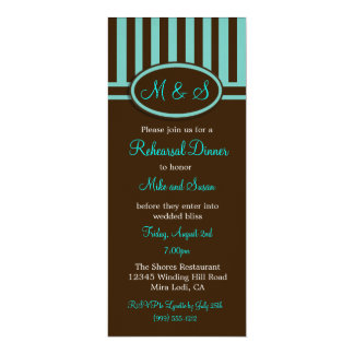 Robin Egg Blue and Brown Wedding Rehearsal Dinner Card