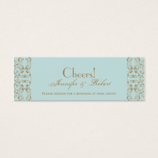 Robin Egg Blue and Gold Damask Drink Tickets
