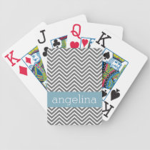 Robin Egg Blue and Gray Chevrons Custom Name Bicycle Playing Cards