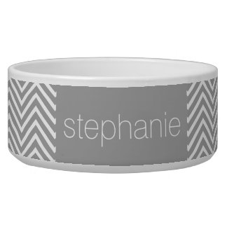 Robin Egg Blue and Gray Chevrons Custom Name Bowl
