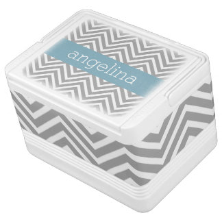 Robin Egg Blue and Gray Chevrons Custom Name Drink Cooler