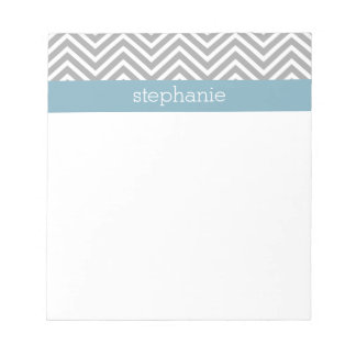 Robin Egg Blue and Gray Chevrons Custom Name Note Pads