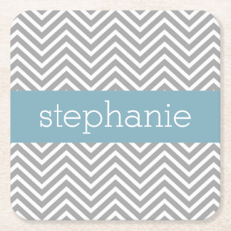 Robin Egg Blue and Gray Chevrons Custom Name Square Paper Coaster