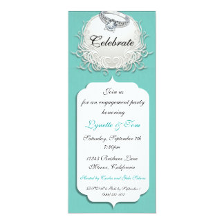 Robin Egg Blue and White Engagement Party Invites