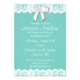 Robin Egg Blue and White Lace Bridal Shower Invite