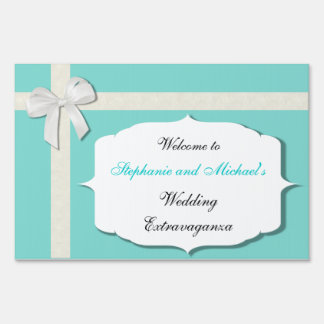 Robin Egg Blue and White Outdoor Wedding Sign