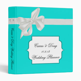 Robin Egg Blue and White Ribbon Wedding Binder