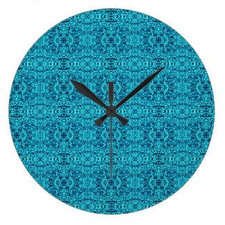 Robin Egg Blue Boho Chic Pattern Wall Clock