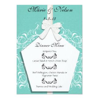 Robin Egg Blue Custom Wedding Dinner Menu Card