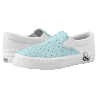 Robin Egg Blue Diamonds Slip-On Sneakers