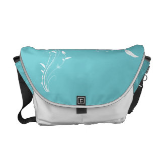 Robin Egg Blue Floral Messenger Bag