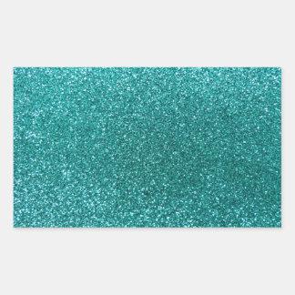 Robin egg blue glitter rectangular sticker