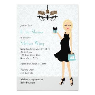Robin Egg Blue Leopard Pregnant Mom Baby Shower 5x7 Paper Invitation Card