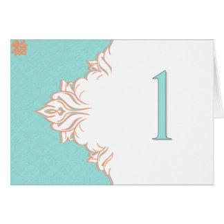 Robin Egg Blue Orange Damask Table Number card 1