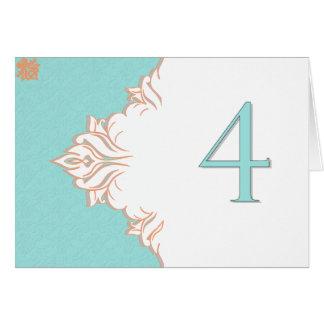 Robin Egg Blue Orange Damask Table Number card 4