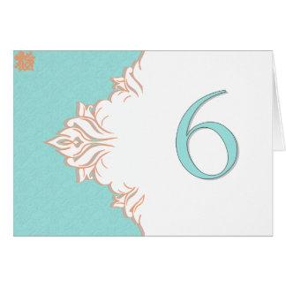Robin Egg Blue Orange Damask Table Number card 6