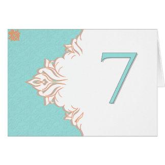 Robin Egg Blue Orange Damask Table Number card 7