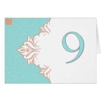 Robin Egg Blue Orange Damask Table Number card 9