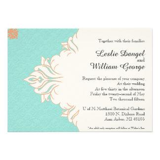 Robin Egg Blue Orange Damask Wedding Invitation