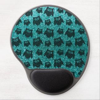 Robin egg blue owl glitter pattern gel mouse pad